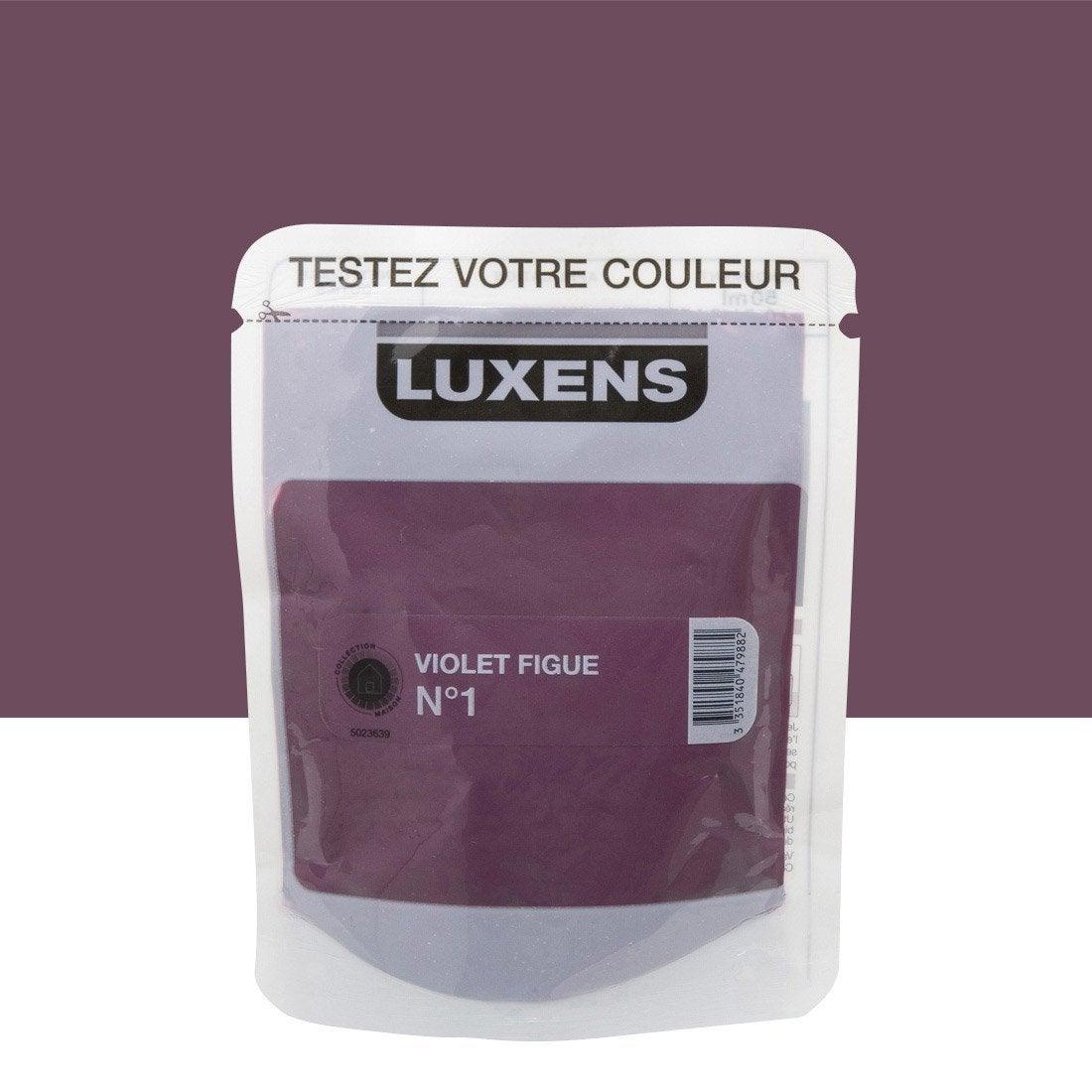Testeur peinture violet figue 1 luxens couleurs int rieures satin l leroy merlin for Peinture couleur figue