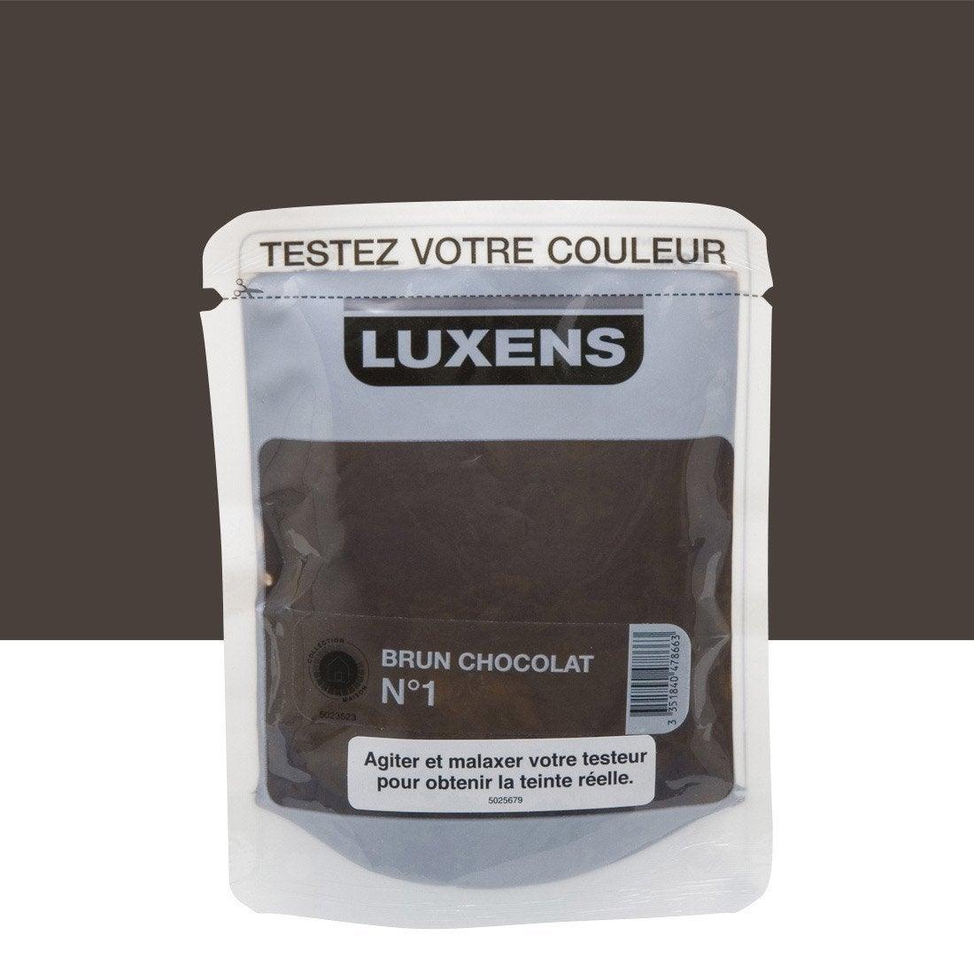 Testeur peinture brun chocolat 1 luxens couleurs for Peinture couleur chocolat