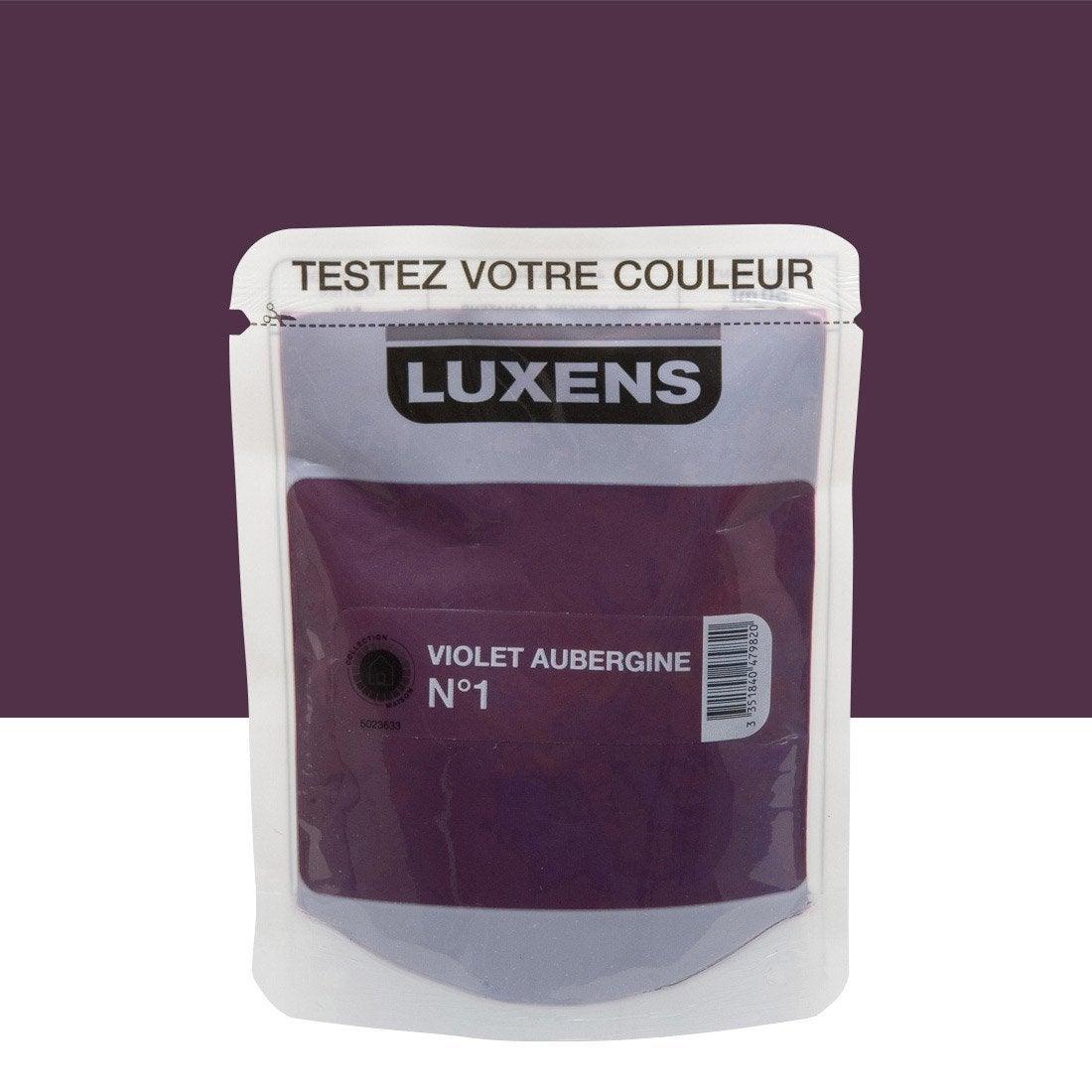 Testeur peinture violet aubergine 1 luxens couleurs int rieures satin l leroy merlin for Peinture violet aubergine