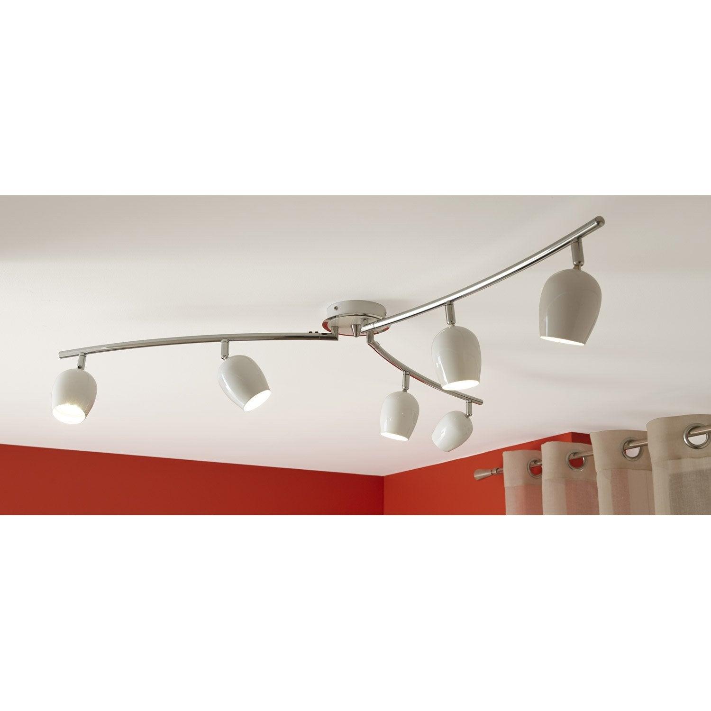 rampe 6 spots led 6 x gu10 blanc bakita eglo leroy merlin. Black Bedroom Furniture Sets. Home Design Ideas