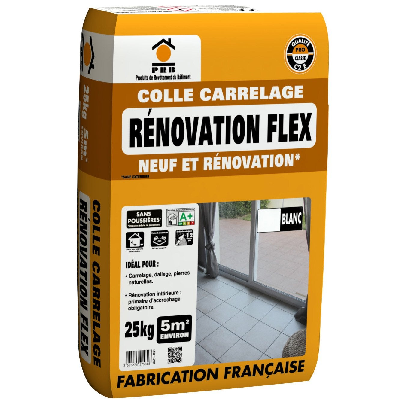 Mortier colle flex blanc prb 25 kg leroy merlin for Ciment colle pour carrelage piscine