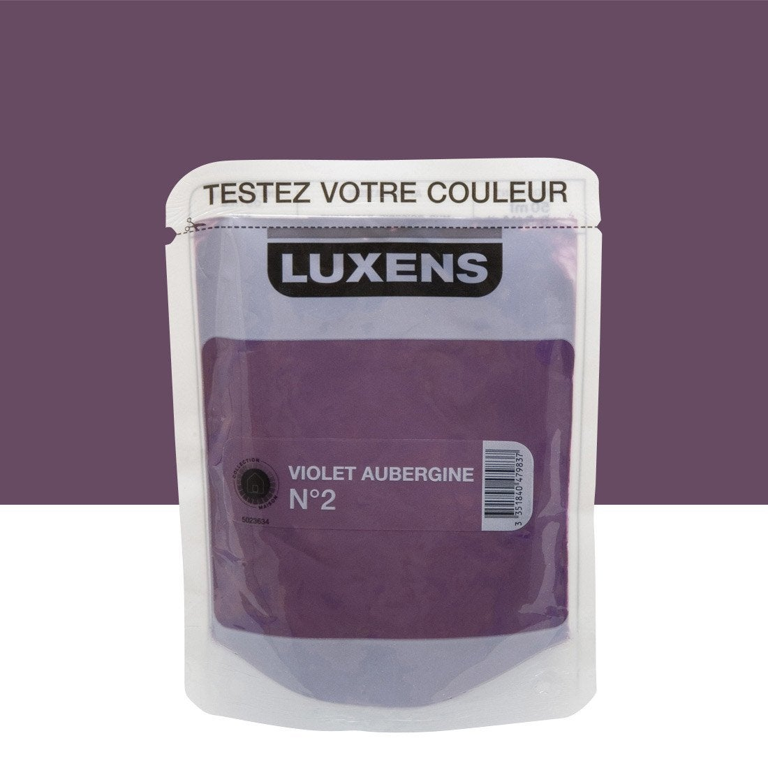 testeur peinture violet aubergine 2 luxens couleurs int rieures satin l leroy merlin. Black Bedroom Furniture Sets. Home Design Ideas