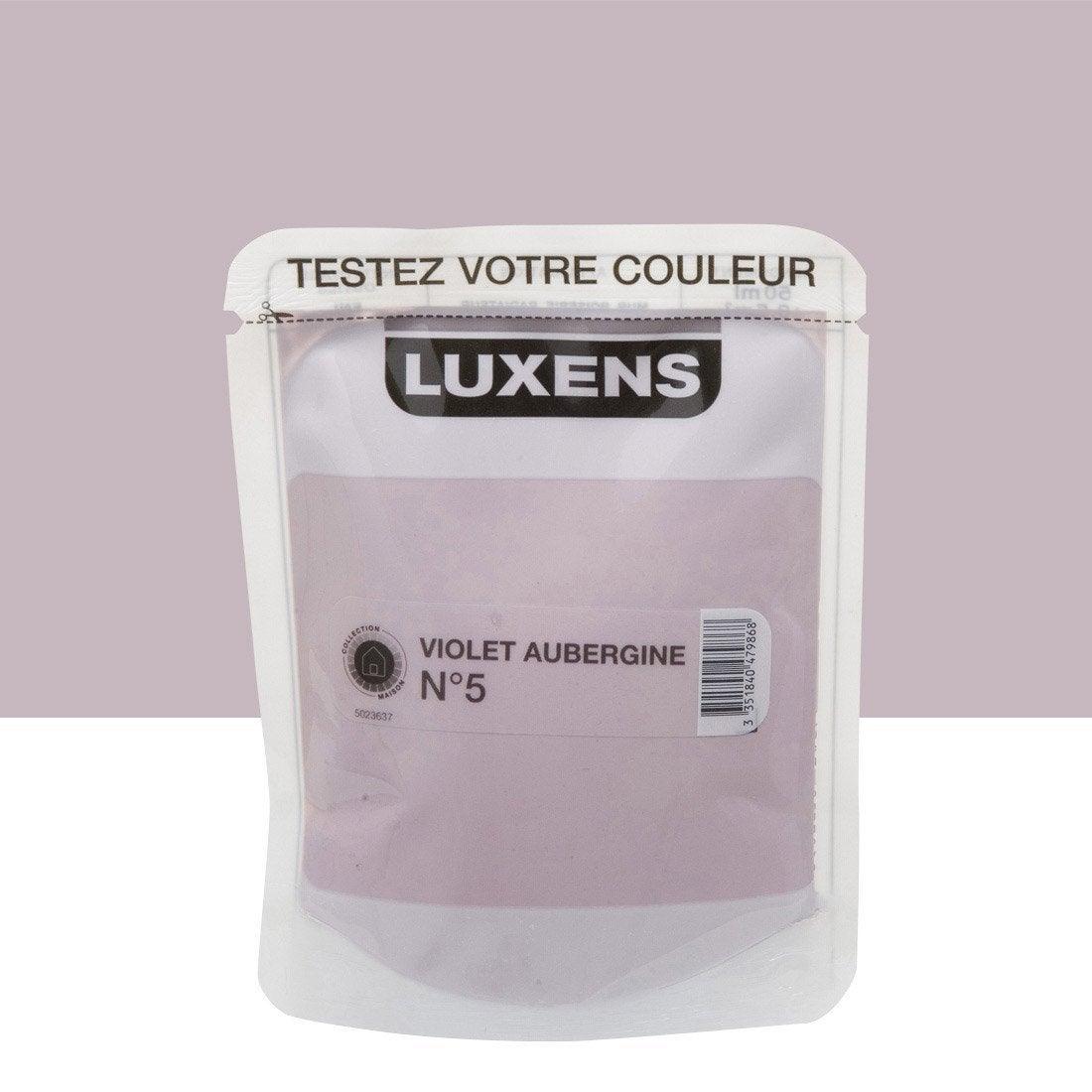 Testeur peinture violet aubergine 5 luxens couleurs int rieures satin l leroy merlin for Peinture violet aubergine