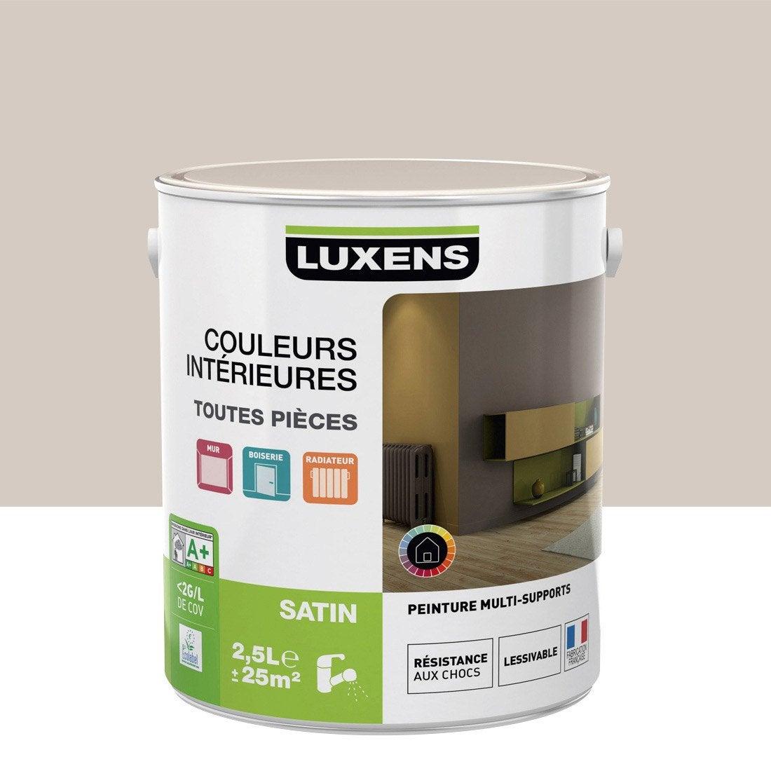 Peinture gris dor 6 luxens couleurs int rieures satin 2 5 - Peinture leroy merlin luxens ...