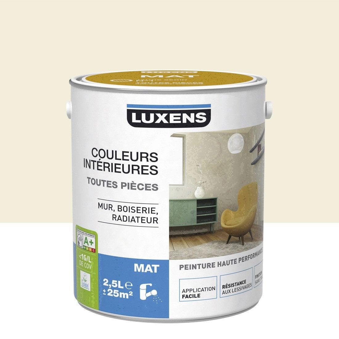 Peinture blanc ivoire 3 luxens couleurs int rieures mat 2 5 l leroy merlin - Peinture craie leroy merlin ...