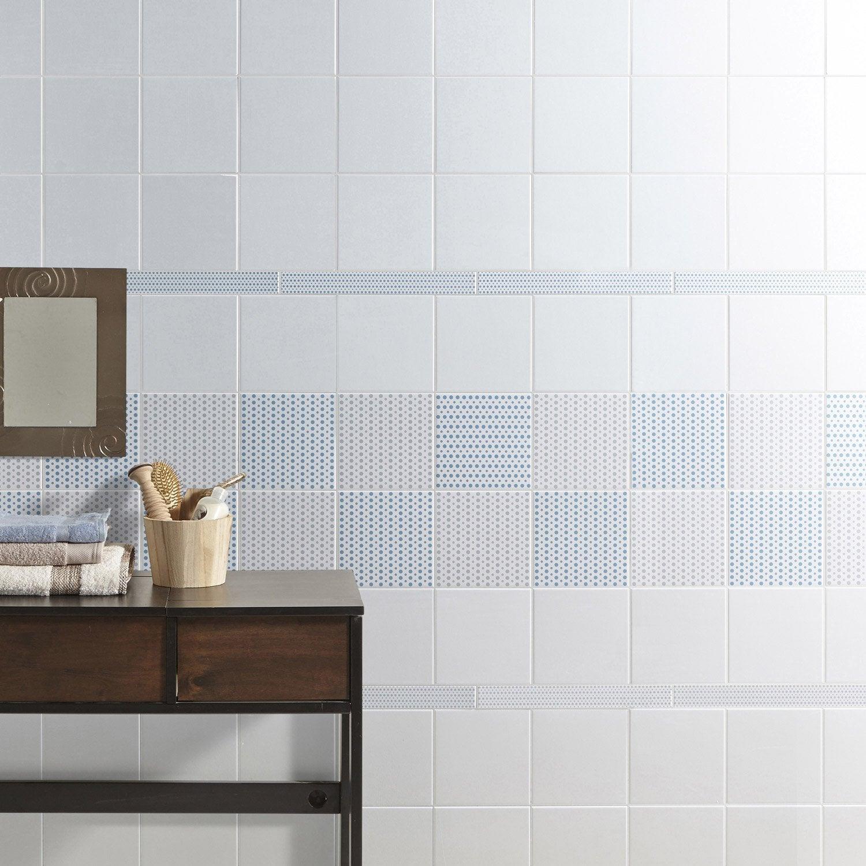 Listel astuce ivoire et bleu baltique n 3 l 4 5 x cm - Listel carrelage leroy merlin ...