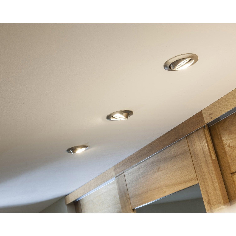 kit 3 spots encastrer clane orientable led inspire gu10 acier leroy merlin. Black Bedroom Furniture Sets. Home Design Ideas