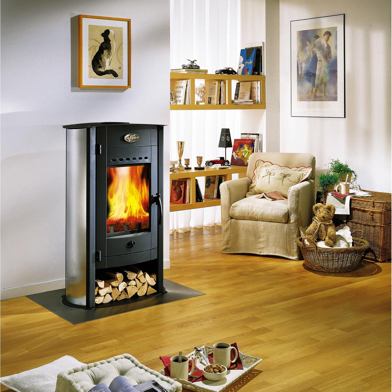 po le bois godin biodesign inox 9 5 kw leroy merlin. Black Bedroom Furniture Sets. Home Design Ideas