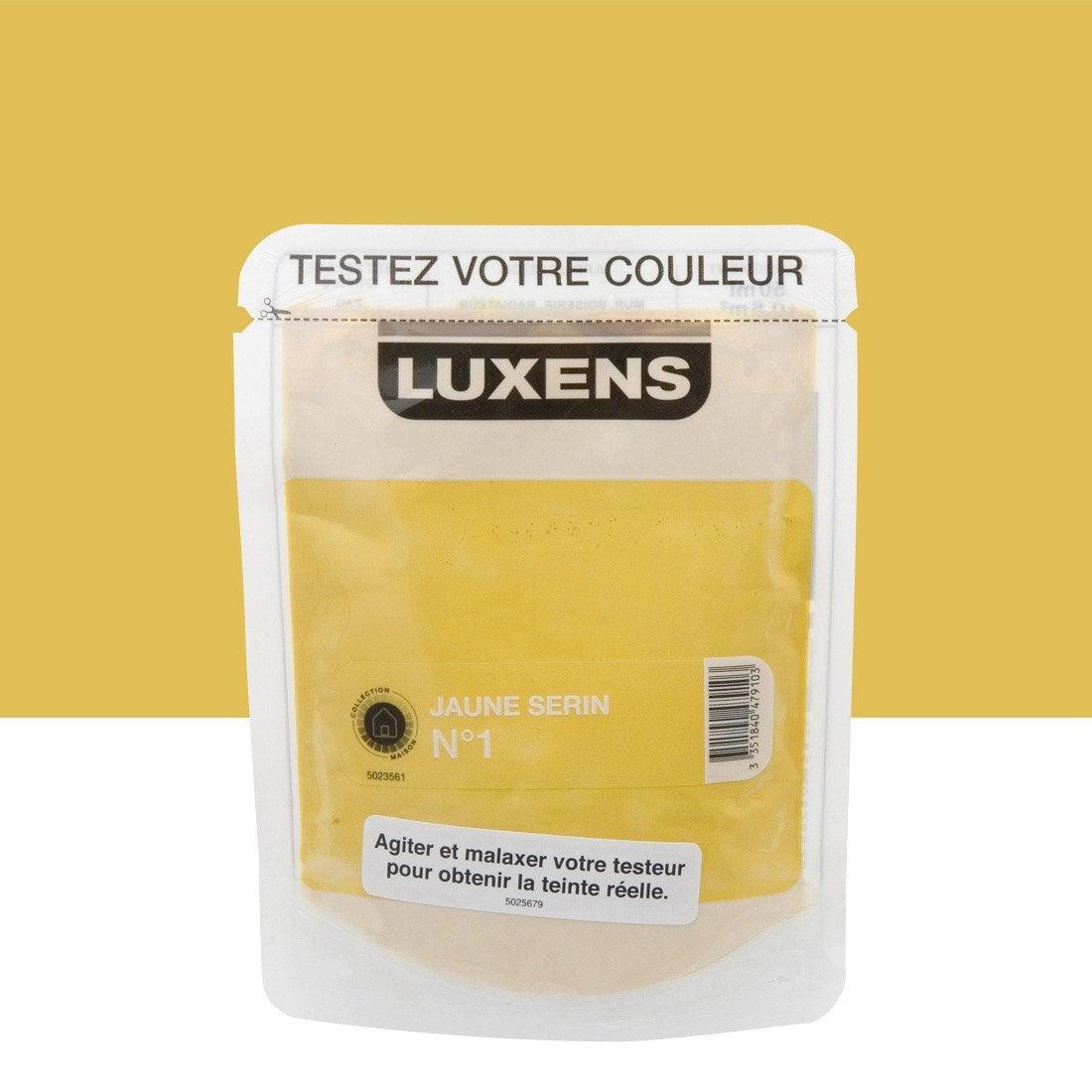 testeur peinture jaune serin 1 luxens couleurs int rieures satin l leroy merlin. Black Bedroom Furniture Sets. Home Design Ideas