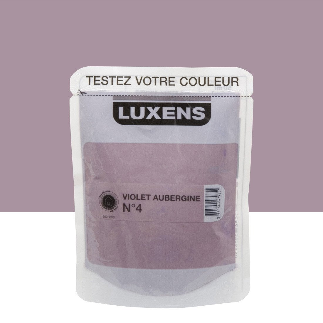 Testeur peinture violet aubergine 4 luxens couleurs int rieures satin l leroy merlin for Peinture aubergine cuisine