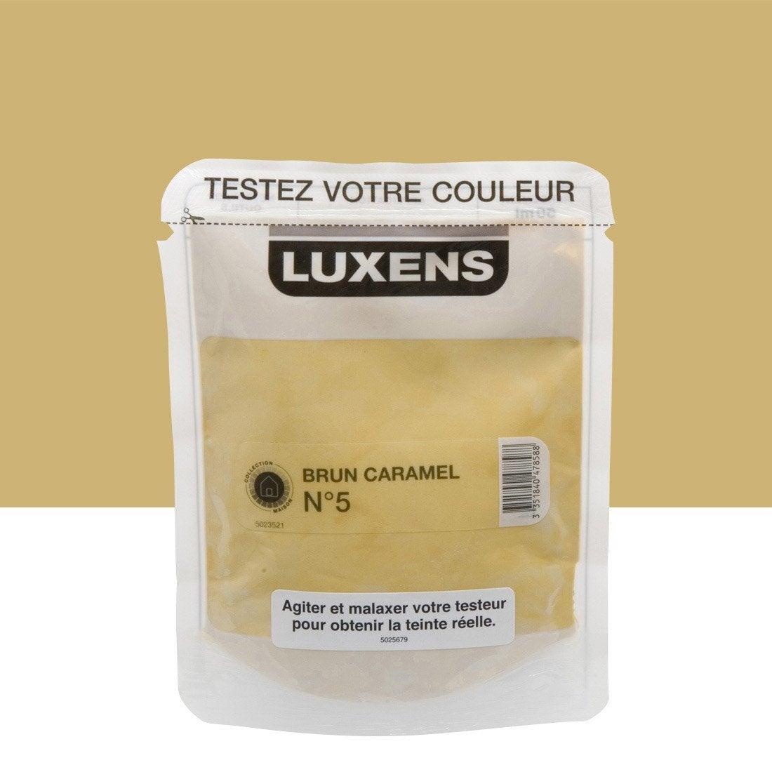 Testeur peinture brun caramel 5 luxens couleurs int rieures satin l leroy merlin for Peinture couleur caramel