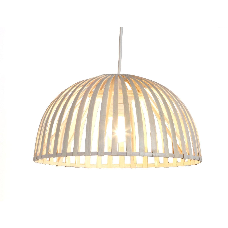 suspension nature hanoi bambou blanc 1 x 60 w leroy merlin. Black Bedroom Furniture Sets. Home Design Ideas