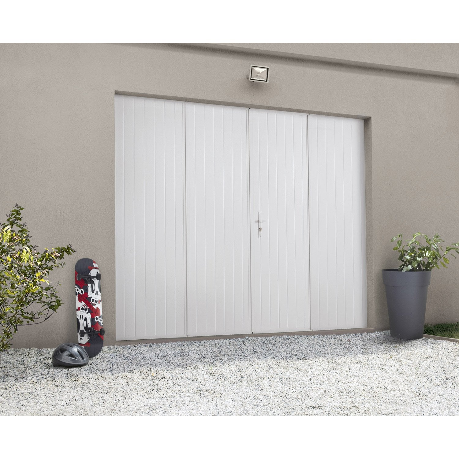 Porte de garage pliante manuelle artens essentiel 200 x for Hublot porte garage sectionnelle
