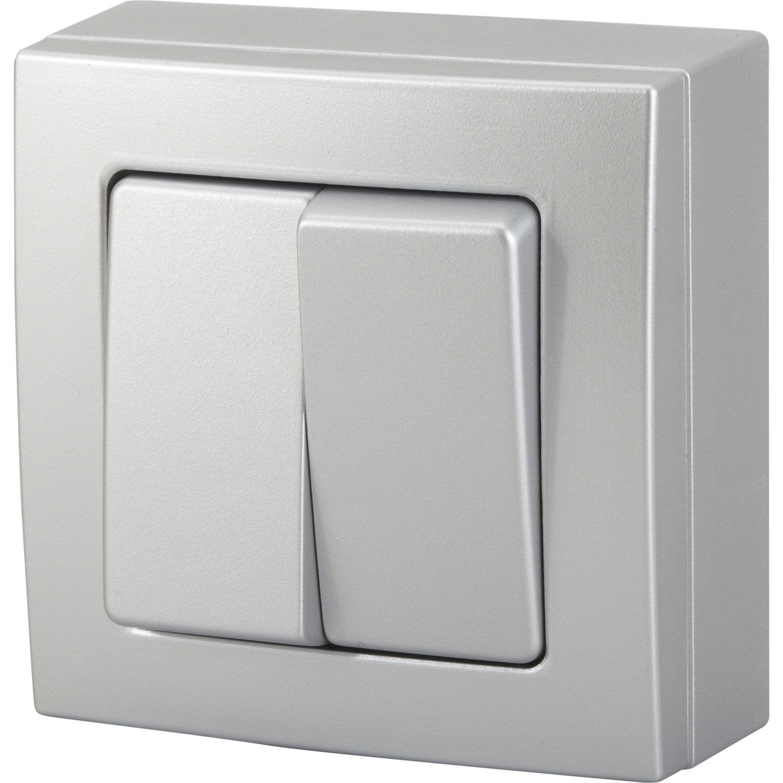 double interrupteur va et vient saillie bel 39 vue gris. Black Bedroom Furniture Sets. Home Design Ideas