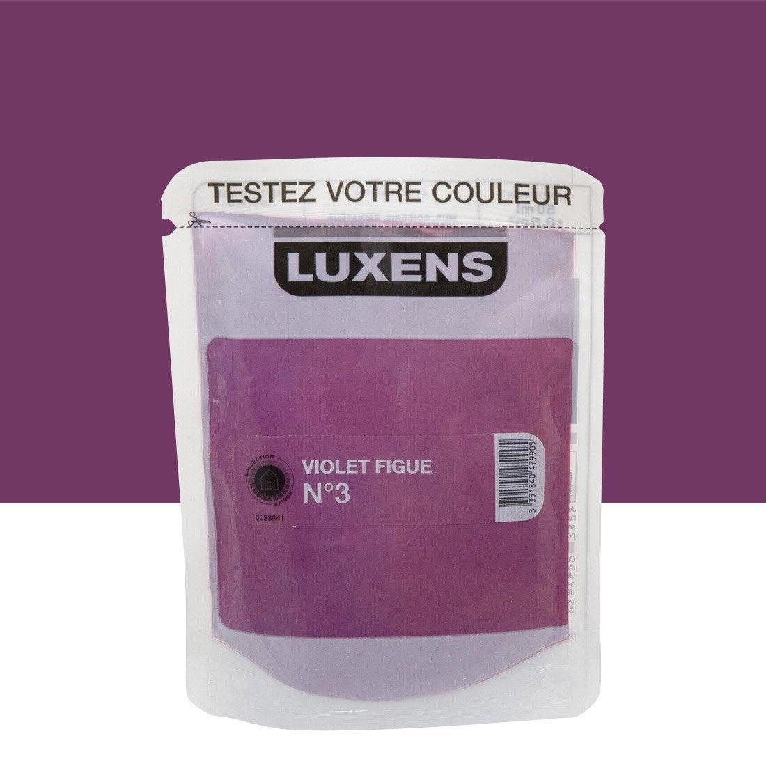 Testeur peinture couleurs int rieures satin luxens violet figue n 3 l leroy merlin for Peinture couleur figue