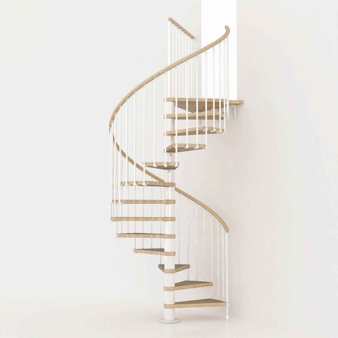 Escalier colimaçon rond Ring structure métal marche bois  Leroy ...