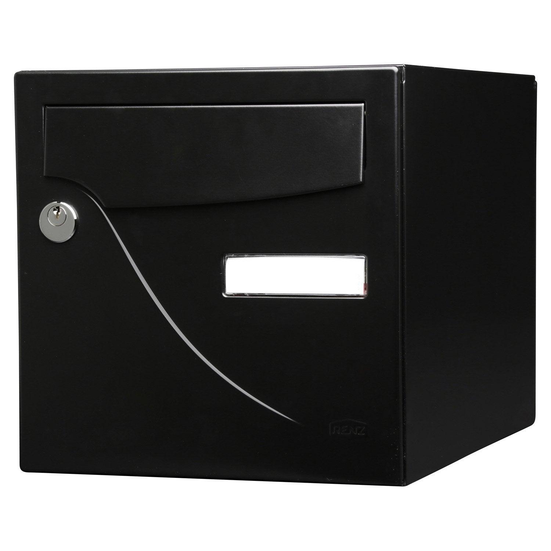 bo te aux lettres normalis e la poste 1 porte renz essentiel acier noir leroy merlin. Black Bedroom Furniture Sets. Home Design Ideas