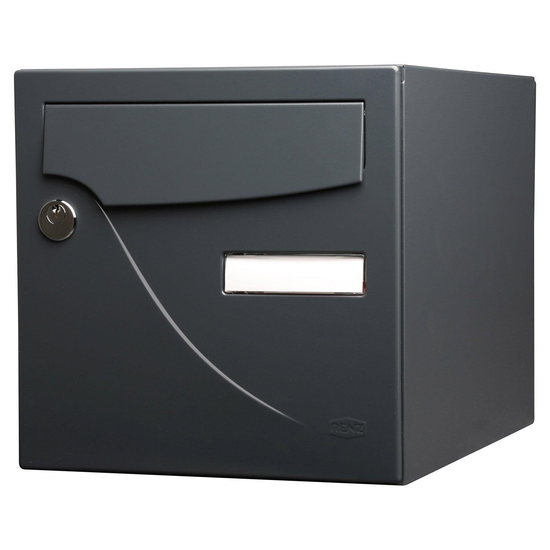 Bo te aux lettres normalis e la poste 2 portes renz essentiel acier gris l - Boite aux lettres domotique ...
