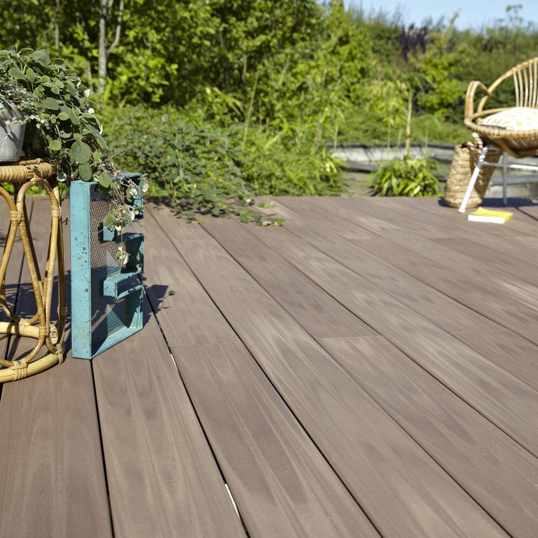 planche composite terrasse premium brun x cm x mm leroy merlin. Black Bedroom Furniture Sets. Home Design Ideas