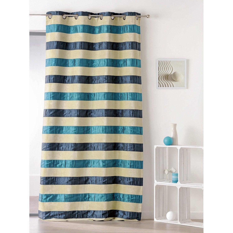 rideau tamisant bolero bleu x cm leroy merlin. Black Bedroom Furniture Sets. Home Design Ideas