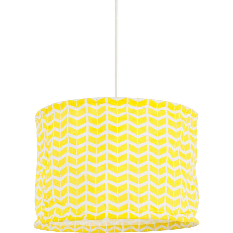 suspension enfant printy coton jaune 1 x 60 w corep leroy merlin. Black Bedroom Furniture Sets. Home Design Ideas
