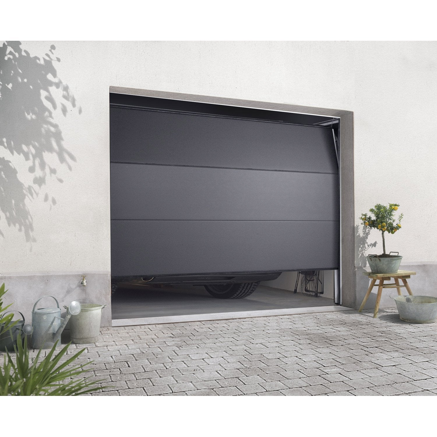 Porte de garage sectionnelle excellence x cm leroy merlin - Porte garage sectionnelle motorisee pas cher ...