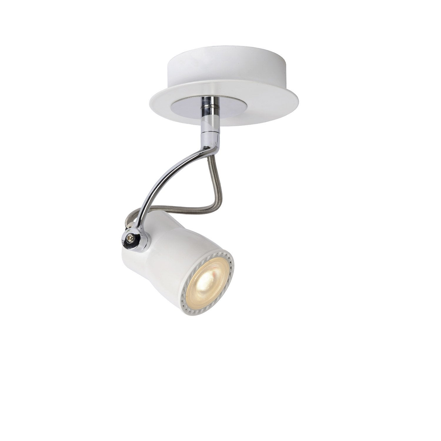 Spot pat re led 1 x gu10 blanc samba lucide leroy merlin for Spot a poser sur meuble