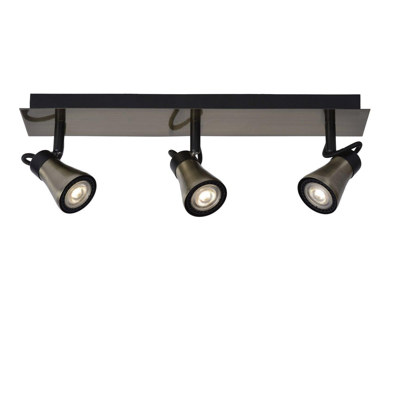 rampe 3 spots led 3 x gu10 bronze bolo lucide leroy merlin. Black Bedroom Furniture Sets. Home Design Ideas