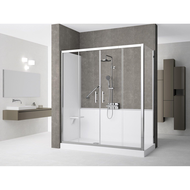 Kit de remplacement baignoire par douche en angle 80x170 for Remplacement baignoire par douche senior