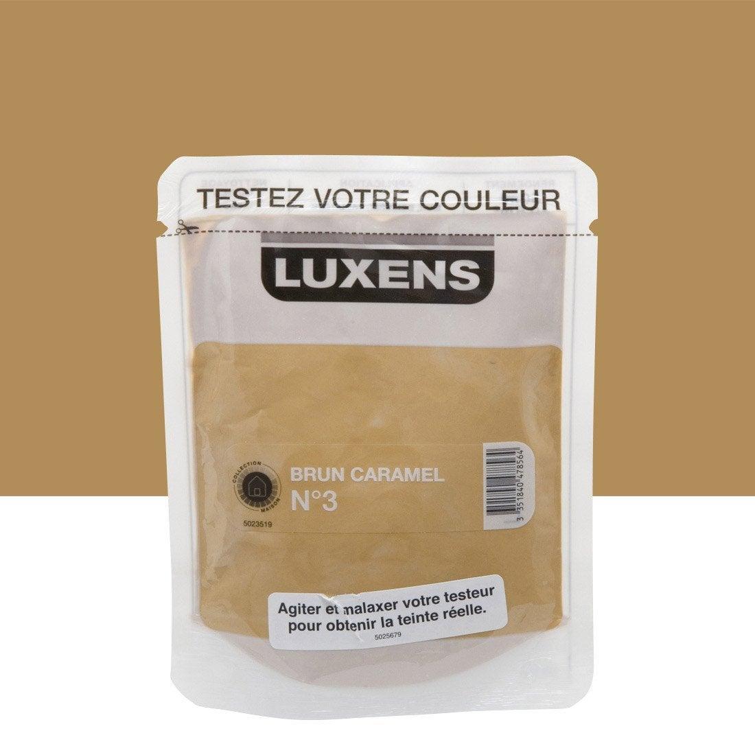 Testeur peinture couleurs int rieures satin luxens brun caramel n 3 l leroy merlin for Peinture couleur caramel