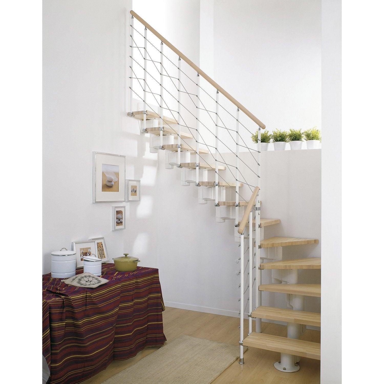 Escalier modulaire long structure m tal marche bois for Pose escalier escamotable leroy merlin