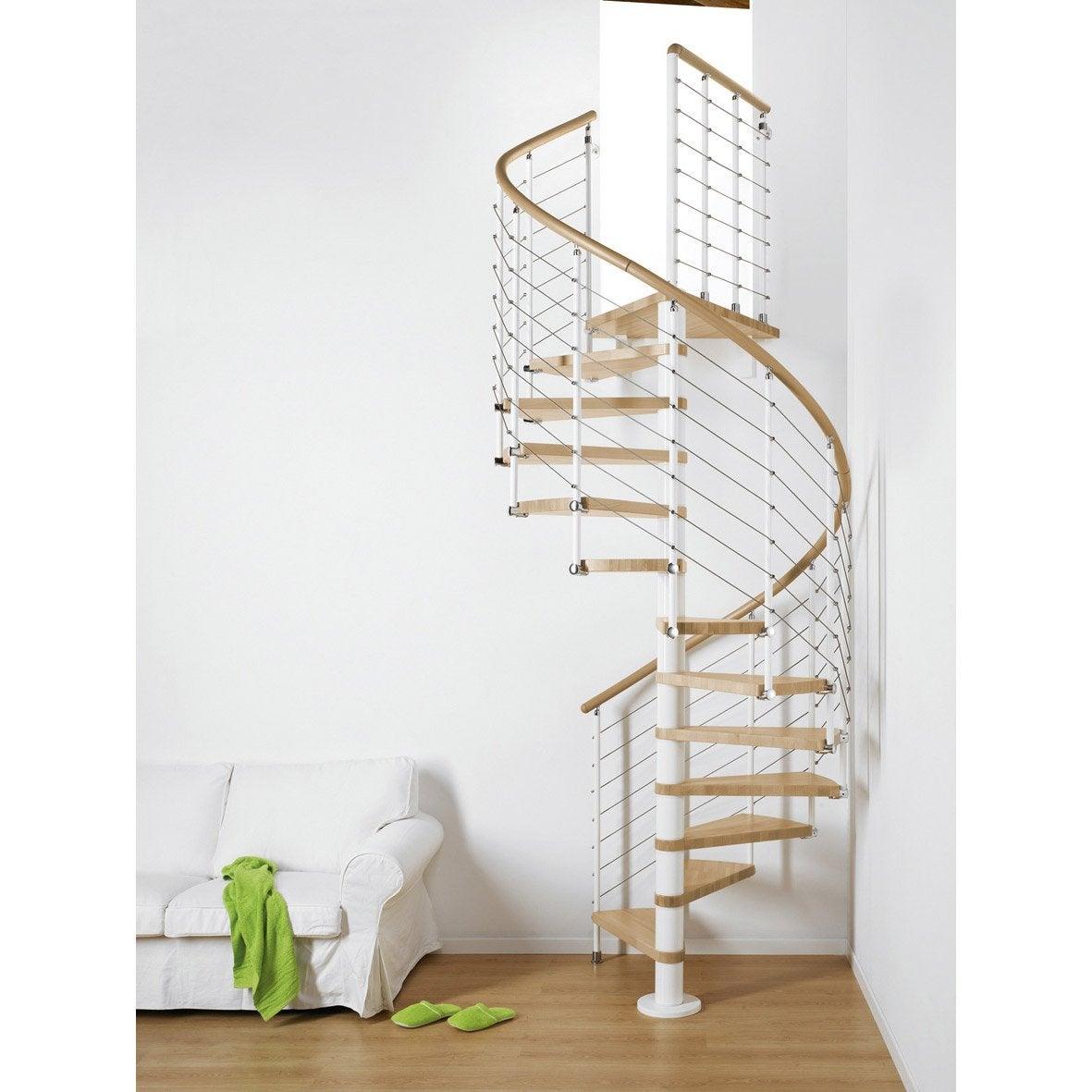 Escalier colima on rond ring structure m tal marche bois leroy merlin - Dimension escalier colimacon ...