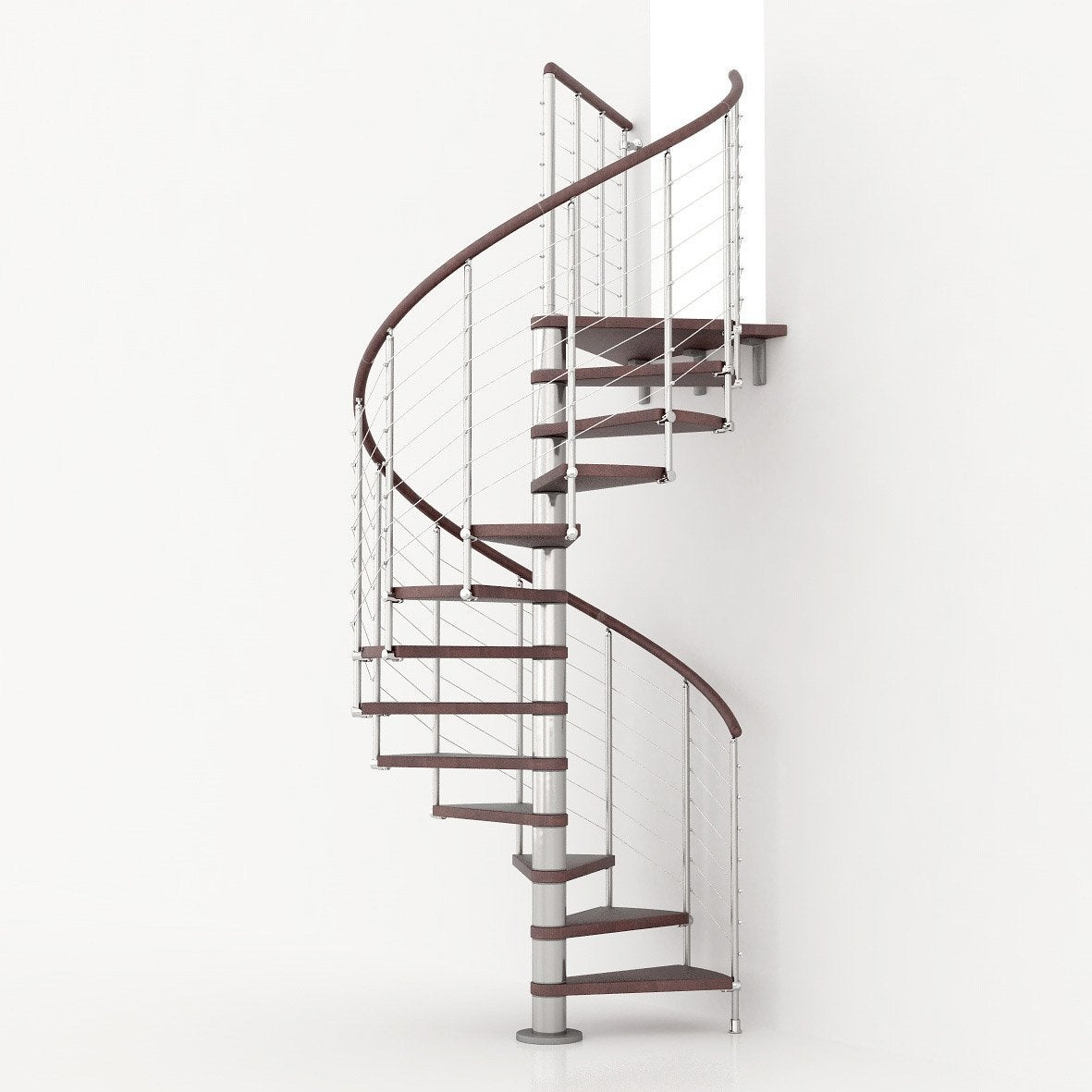 Escalier colima on rond ring line marches bois structure m tal chrom ler - Plan escalier colimacon ...