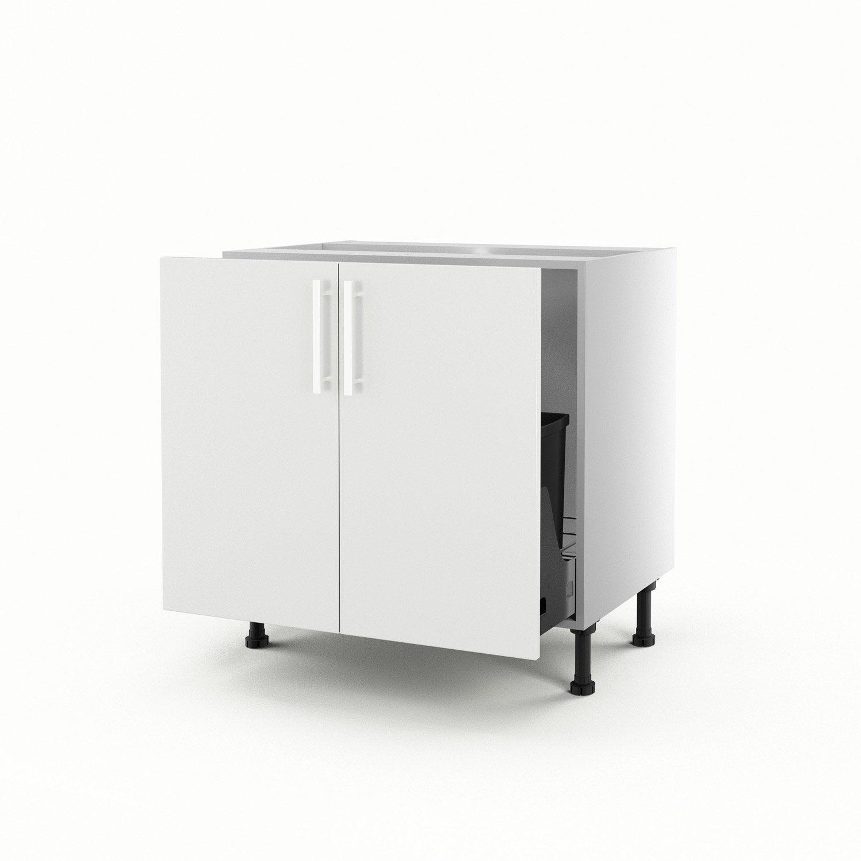 Meuble de cuisine sous vier blanc 2 portes d lice x x cm leroy merlin for Evier cuisine blanc leroy merlin