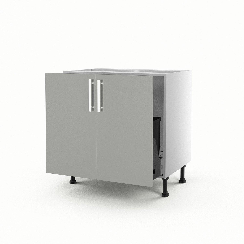 Meuble de cuisine sous vier gris 2 portes d lice x l for Evier de cuisine gris