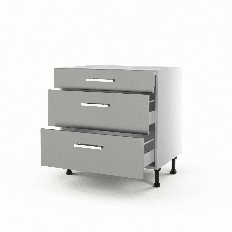 Meuble de cuisine bas gris 3 tiroirs d lice h70xl80xp56 for Meuble bas avec tiroir