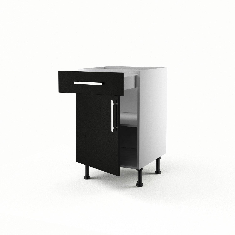 Meuble de cuisine bas noir 1 porte 1 tiroir d lice for Meuble bas noir