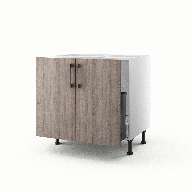meuble de cuisine sous vier d cor ch ne havane 2 portes. Black Bedroom Furniture Sets. Home Design Ideas