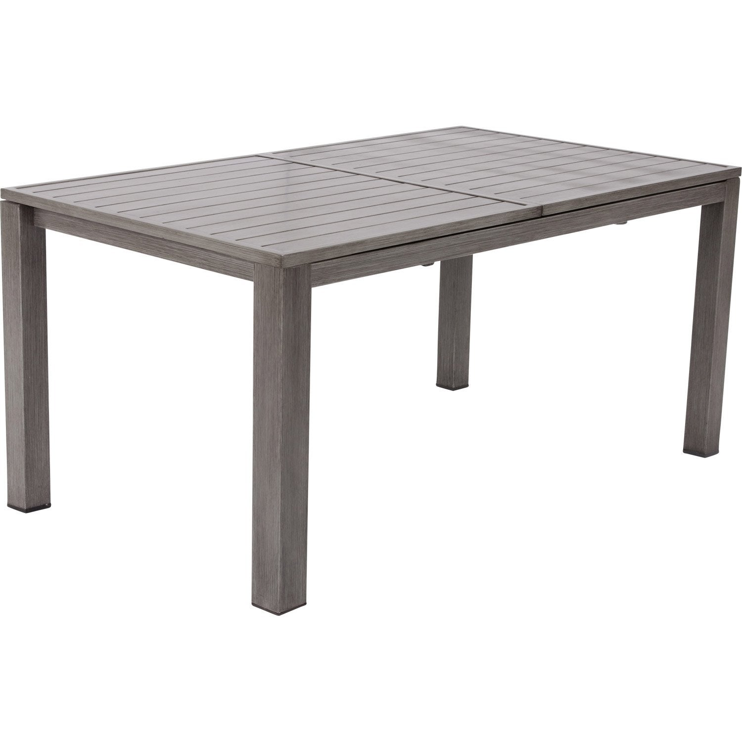 Table de jardin naterial antibes rectangulaire gris look bois 6 8 personnes leroy merlin - Table de jardin aluminium ...