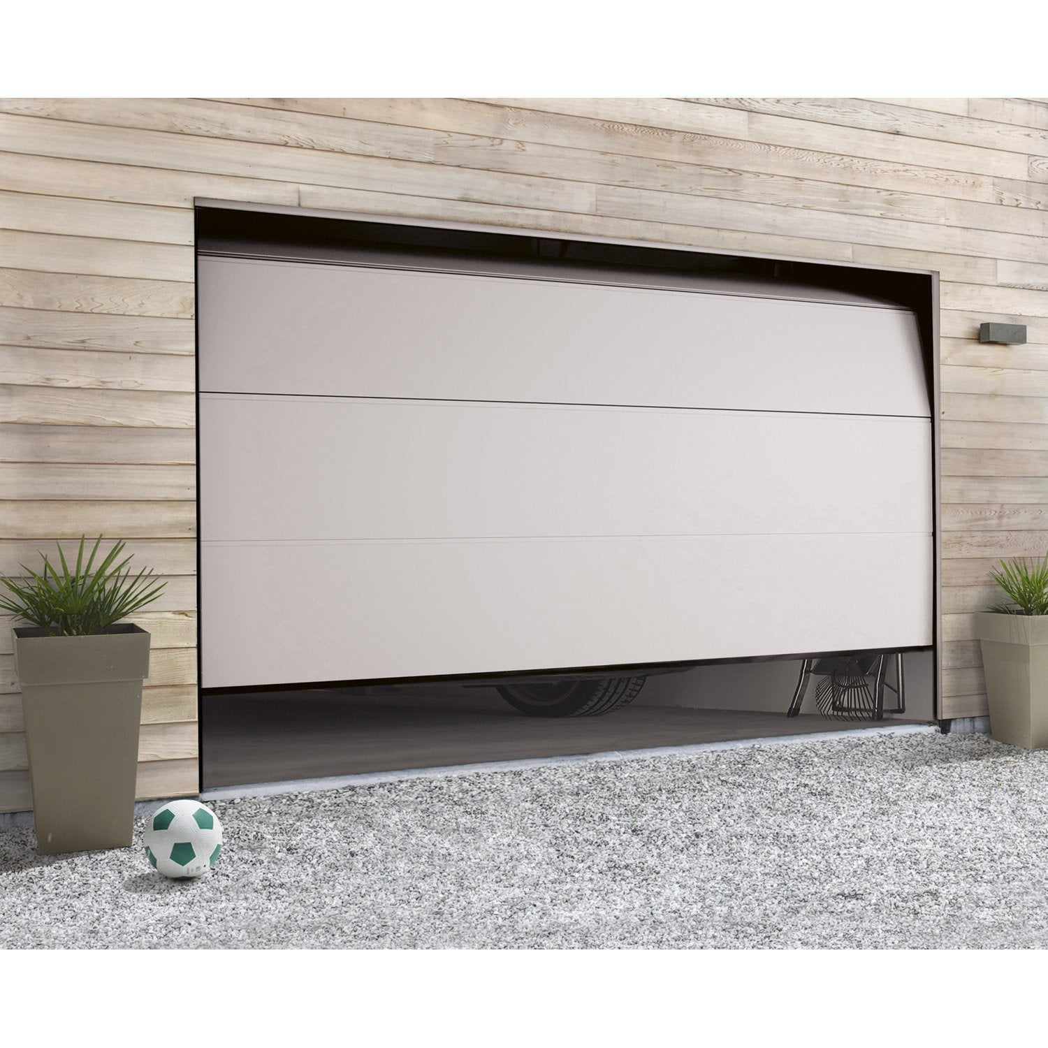 Porte de garage sectionnelle motoris e hormann x cm leroy merlin - Porte de garage motorisee somfy ...