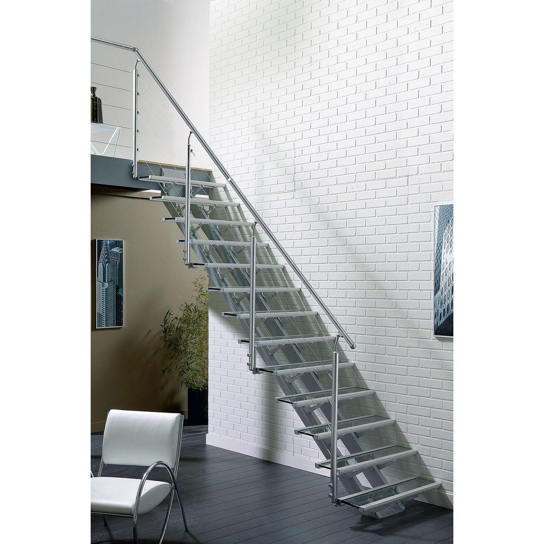 Escalier droit escatwin structure aluminium marche verre leroy merlin - Escalier aluminium prix ...