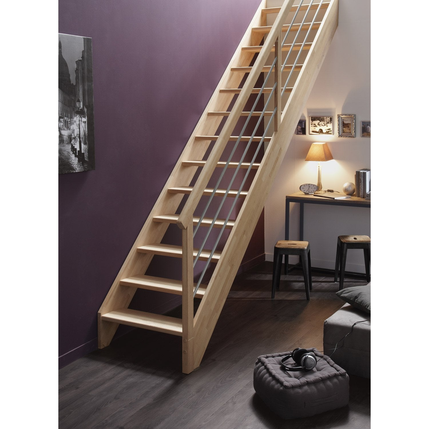 escalier droit urban tube structure bois marche bois leroy merlin. Black Bedroom Furniture Sets. Home Design Ideas
