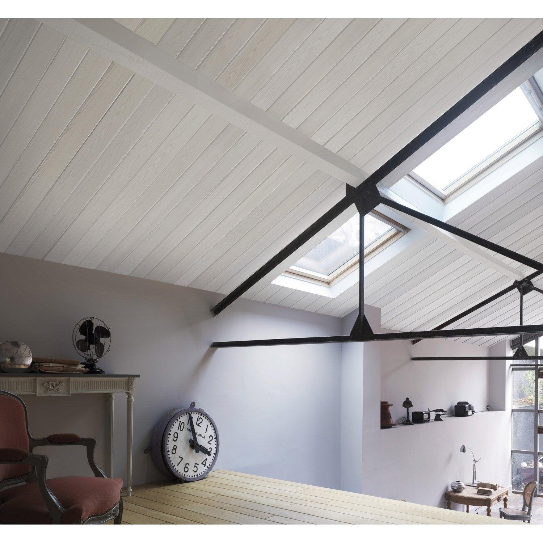 Lambris pvc bois fin blanc grosfillex x cm x ep 8 mm leroy merlin - Lambris pvc pour plafond ...