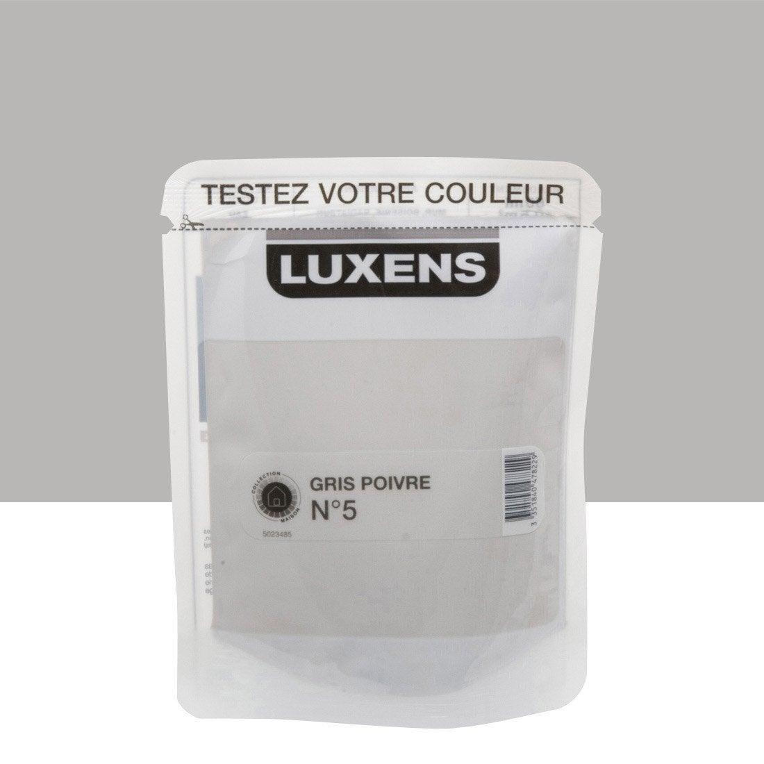 Testeur peinture gris poivre 5 luxens couleurs int rieures satin l leroy merlin for Peinture beige leroy merlin