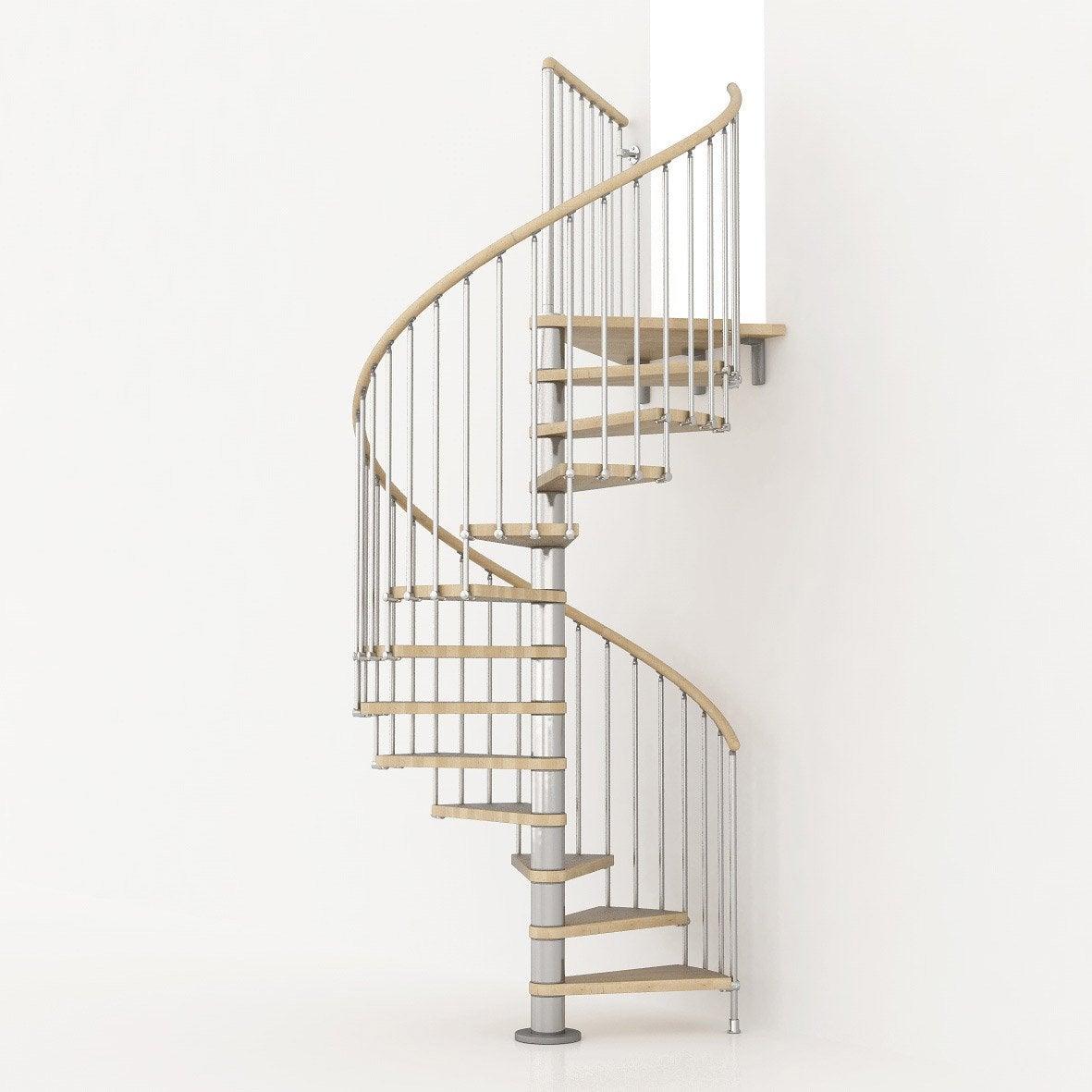 Escalier colimaçon rond Ring structure métal marche bois Leroy Merlin # Bois Rond Leroy Merlin