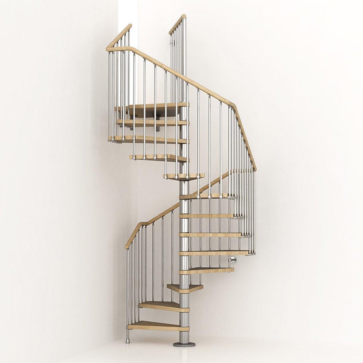 Extrêmement Escalier colimaçon carré Cube structure métal marche bois | Leroy  BT23