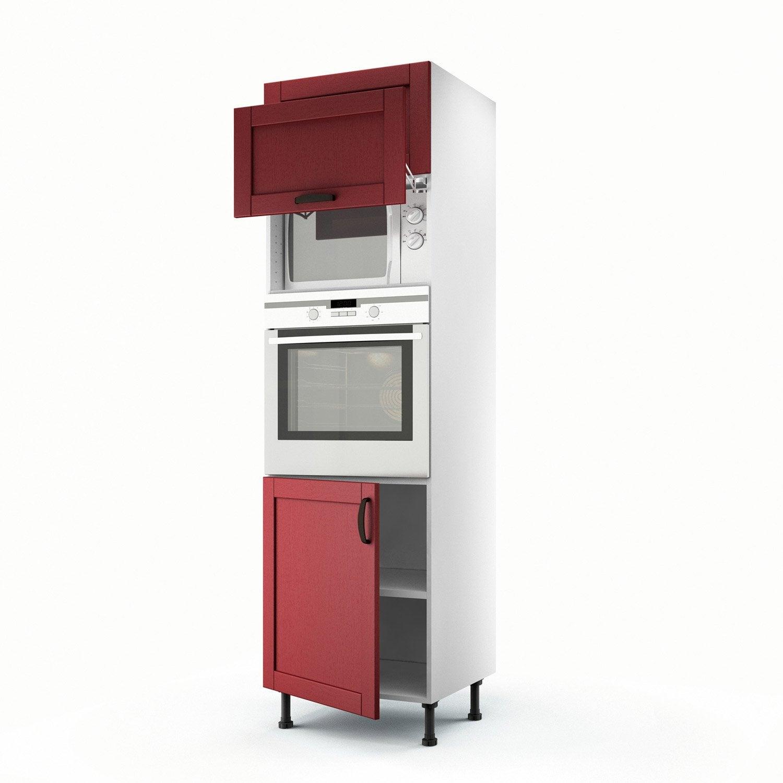 meuble de cuisine colonne rouge 3 portes rubis x x cm leroy merlin. Black Bedroom Furniture Sets. Home Design Ideas