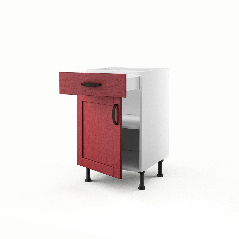 Meuble de cuisine bas rouge 1 porte 1 tiroir rubis - Meuble bas cuisine 50 cm ...