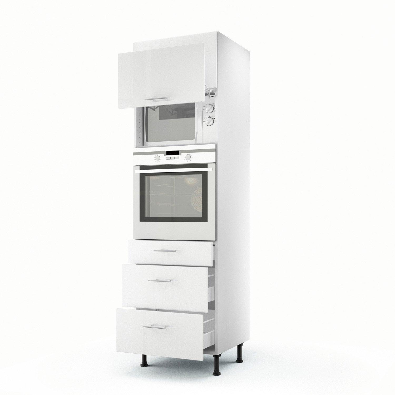 Meuble de cuisine colonne blanc 2 portes 3 tiroirs rio h - Colonne de cuisine pour four et micro onde ...