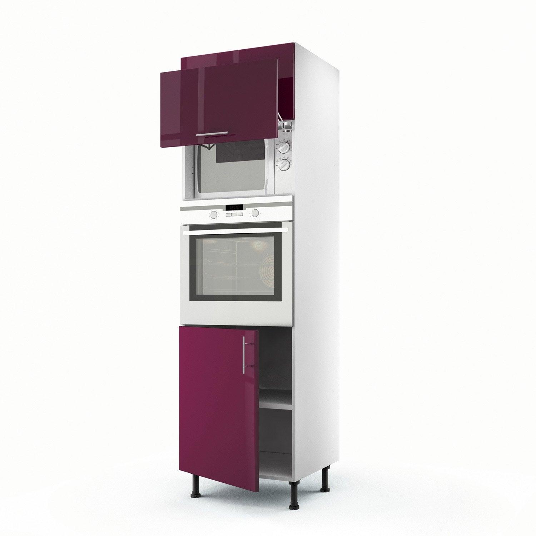 Meuble de cuisine colonne violet 3 portes rio x for Meuble cuisine violet